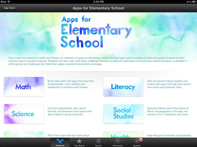 Featured in the iPad App Store this Week: Apps for Elementary Schools