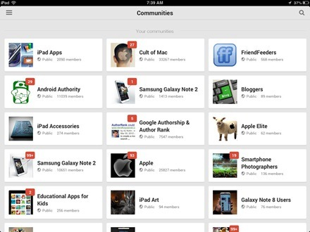 Google+ for iPad