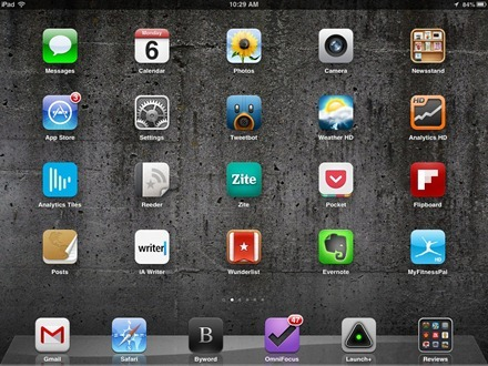 Gmail on iPad mini dock