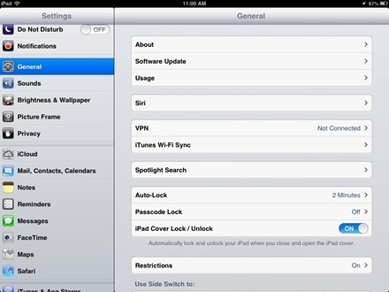Ipad Settings for Notes app