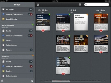 Posts iPad blogging app