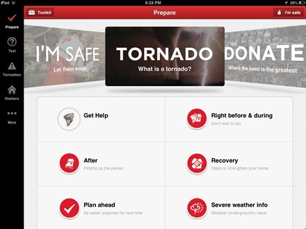 Tornado Red Cross iPad app
