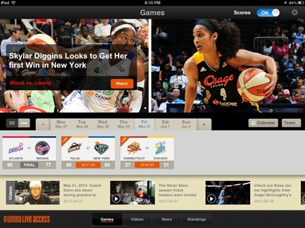 2013 WNBA Center Court iPad app