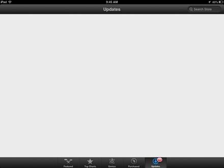 App Store Updates Page Blank