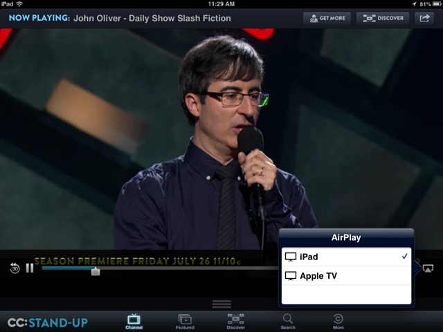 Comedy Central iPad App Updated – Adds AirPlay Support
