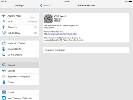 iOS 7 Beta 3 for ipad