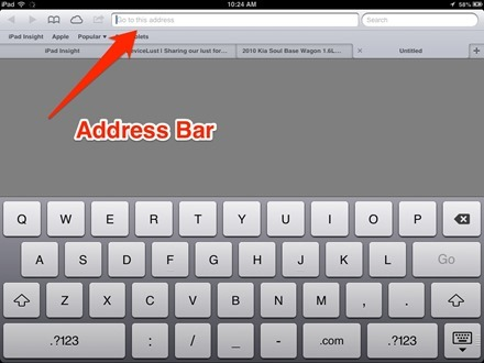 iPad Safari Address Bar