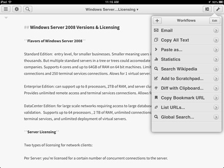 Editorial iPad Text Editor App