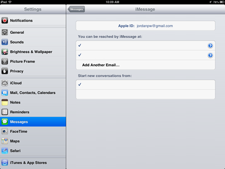 iMessage Email settings