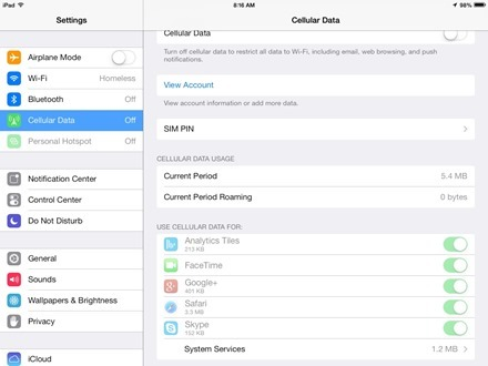 iPad Cellular Data Usage by App