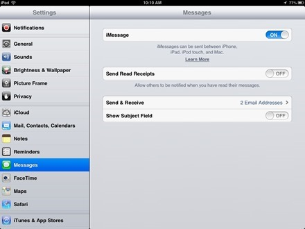 iPad Messages settings