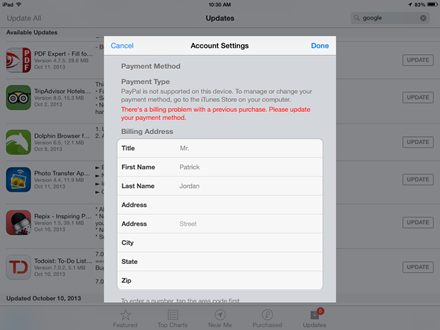 how to change payment method itunes