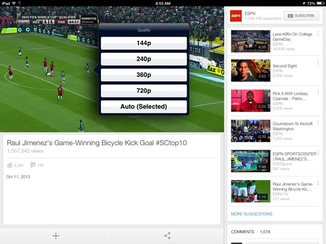 YouTube iPad App Updated – Choose Video Quality on Wi-Fi
