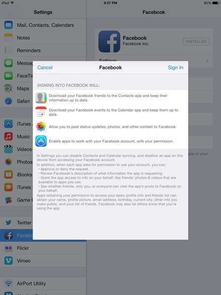 Facebook account iOS