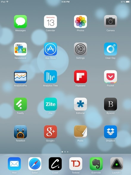 Retina iPad mini home screen