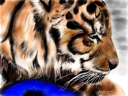 Tiger iPad painting