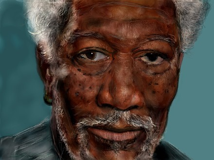 Morgan Freeman iPad Painting