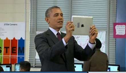President Filming with iPad