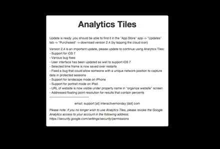 Analytics Tiles App Support