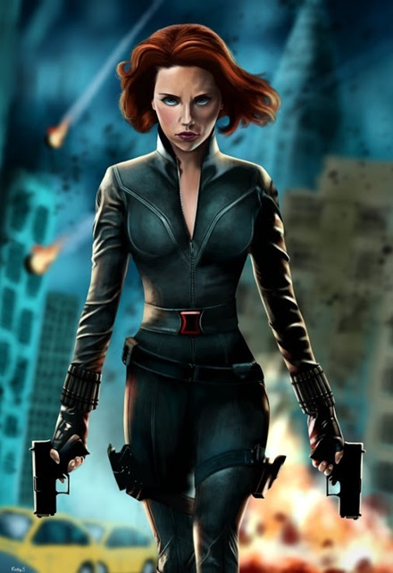 Black Widow iPad Painting