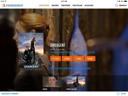 Fandango Movies iPad app