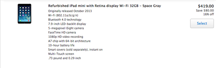 Refurbished Retina iPad mini Available Now at Apple Online Store