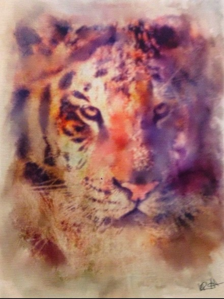iPad Art: Watercolor Tiger