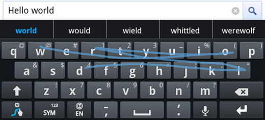 Swype Typing