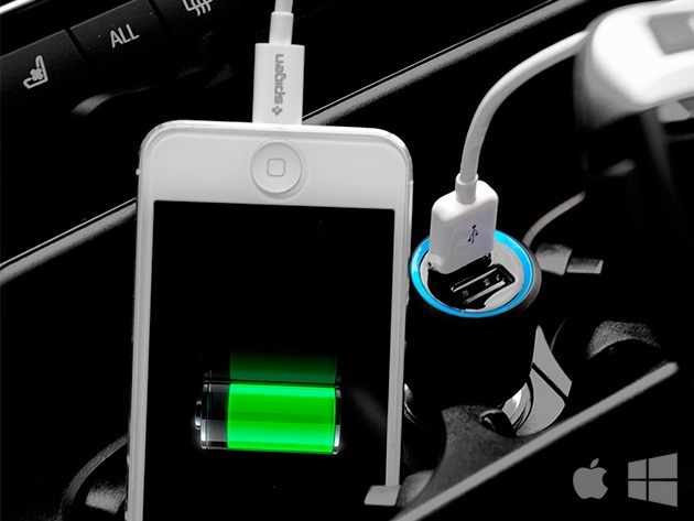 Deals: Spigen Compact Car Charger: 2 USB Ports & 2x The Charging Speed