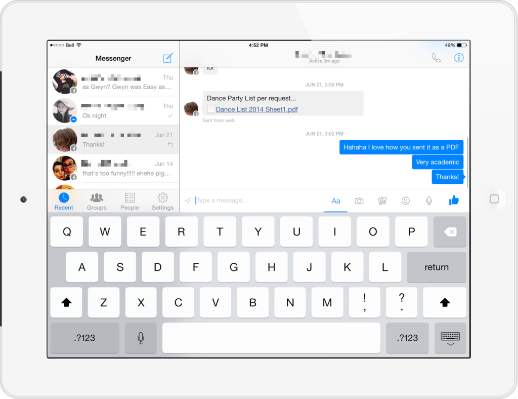 fb messenger ipad