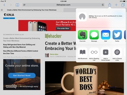 Evernote iOS 8 Share
