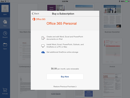 Office for iPad Monthly Subscription