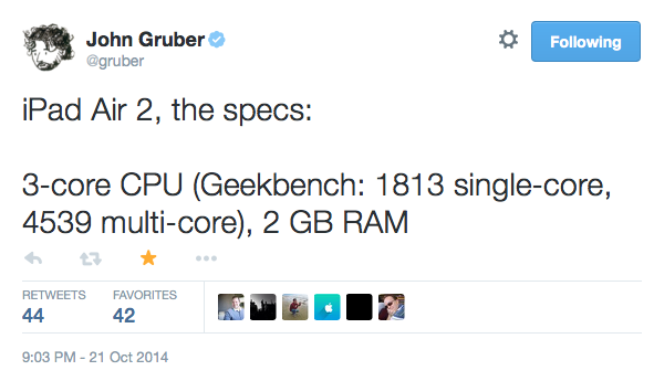 Gruber Says iPad Air 2 has 2GB RAM