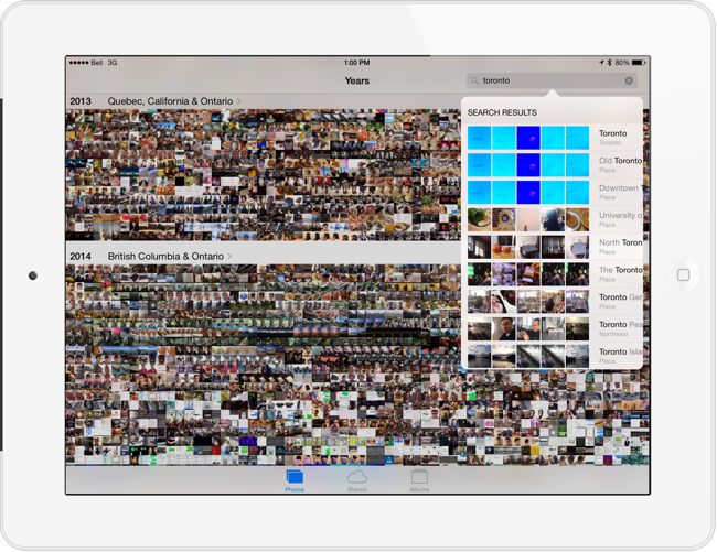 iOS 8 search in photos app