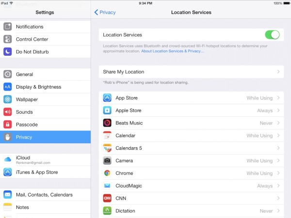 How to configure your Location Services on your iPad