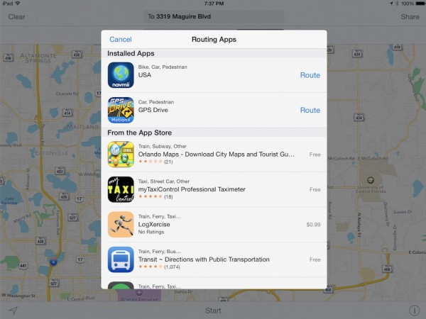 How to use alternative apps to navigate to an address from