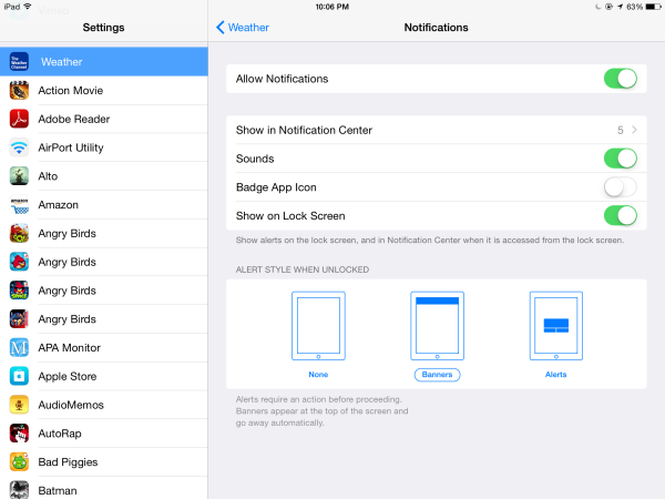 How to configure each of your app's settings on your iPad at the same time