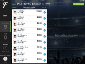 Edit Lineups Fan Duel iPad app