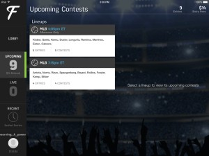 Upcoming Contests Fan Duel iPad app