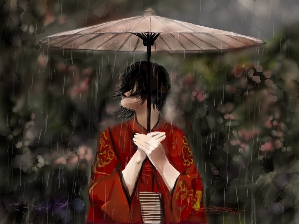iPad Painting Rain Woman