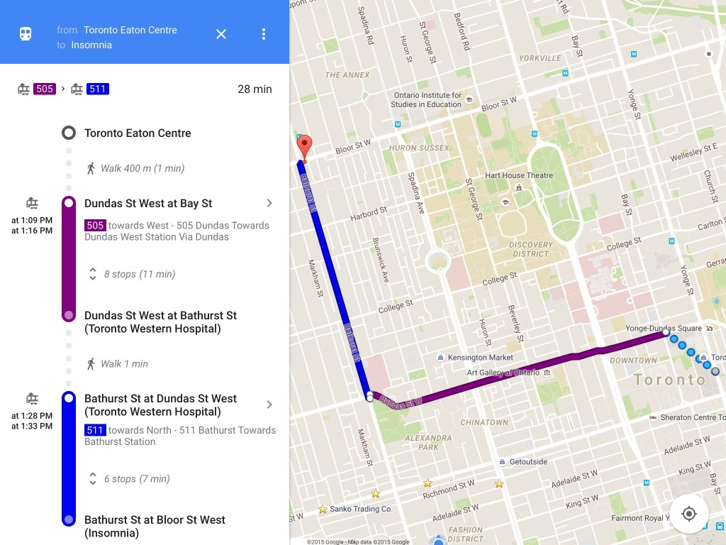 Google Maps transit directions