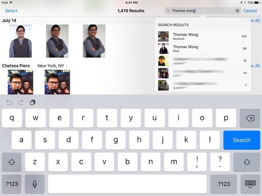 Faces Support in Photos app for iPad