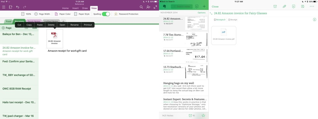 evernote onenote attachments