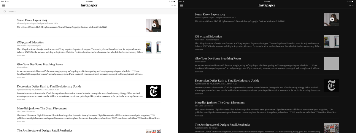 Instapaper's night mode is a simple inversion, but it's convenient because it activates automatically.