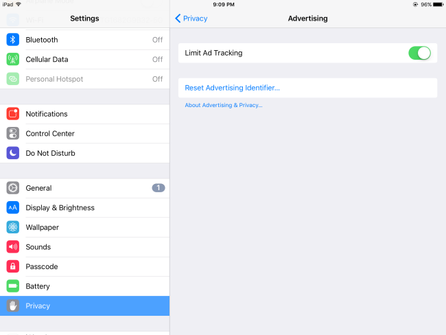Limit Ad Tracking on iPad