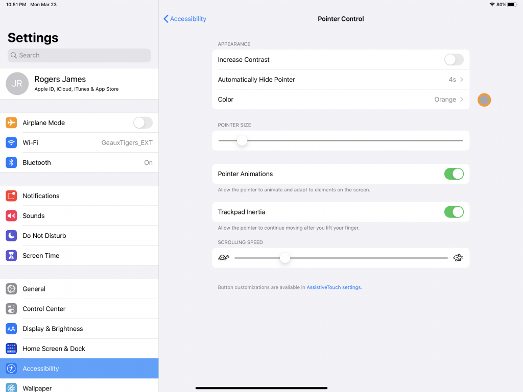 IPadOS 13.4 Accessibility Pointer Control Settings