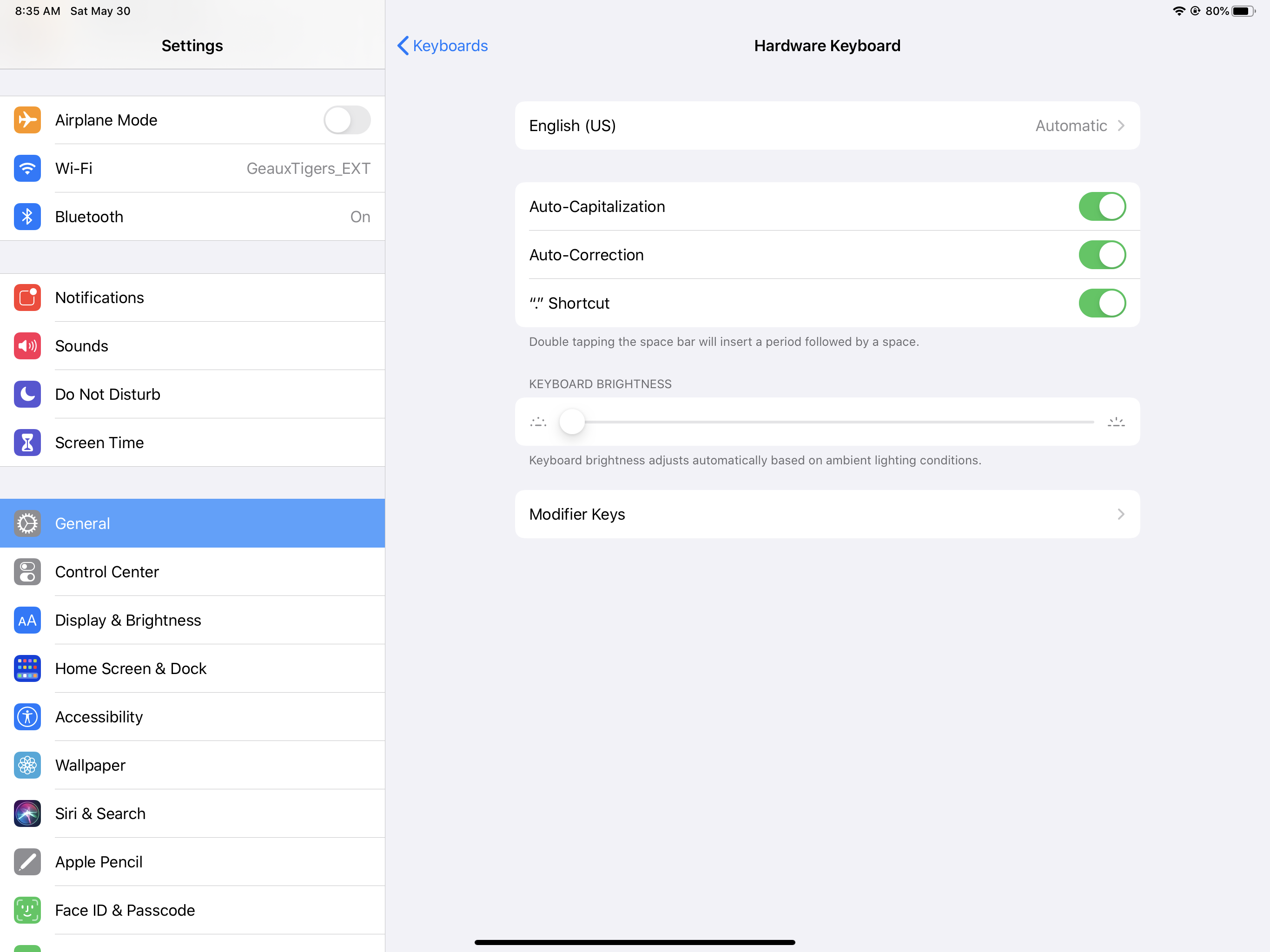 IPadOS Hardware Keyboard Settings